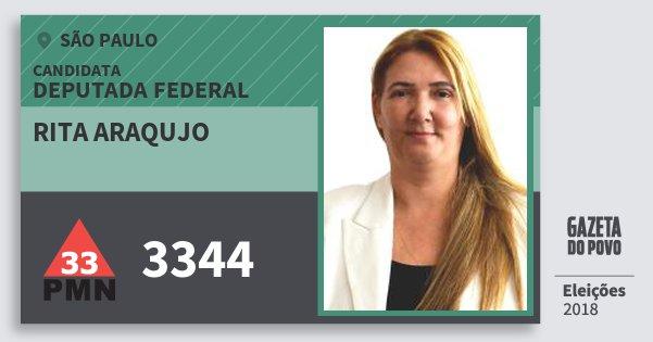 Santinho Rita Araqujo 3344 (PMN) Deputada Federal | São Paulo | Eleições 2018