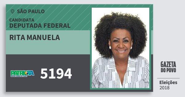 Santinho Rita Manuela 5194 (PATRI) Deputada Federal   São Paulo   Eleições 2018