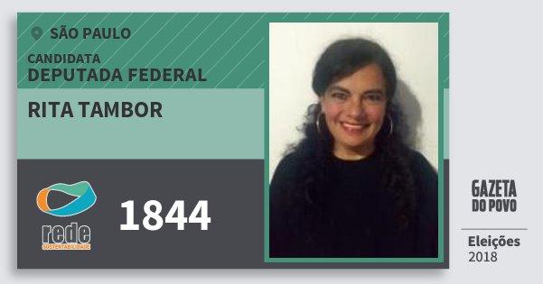 Santinho Rita Tambor 1844 (REDE) Deputada Federal | São Paulo | Eleições 2018