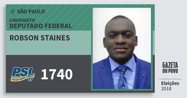 Santinho Robson Staines 1740 (PSL) Deputado Federal | São Paulo | Eleições 2018
