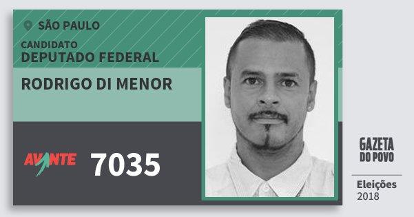 Santinho Rodrigo di Menor 7035 (AVANTE) Deputado Federal | São Paulo | Eleições 2018