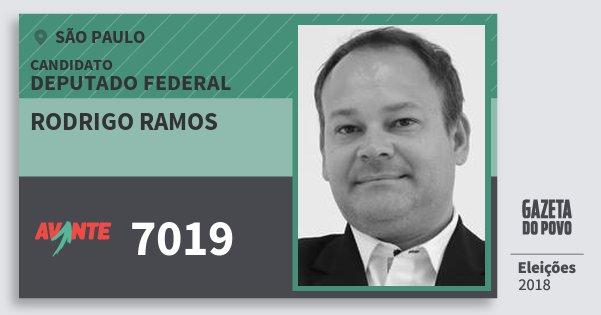 Santinho Rodrigo Ramos 7019 (AVANTE) Deputado Federal | São Paulo | Eleições 2018