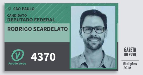 Santinho Rodrigo Scardelato 4370 (PV) Deputado Federal | São Paulo | Eleições 2018
