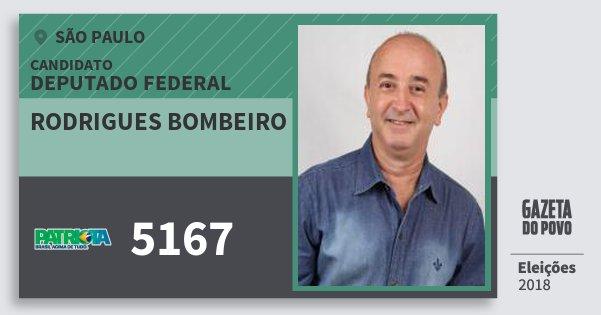 Santinho Rodrigues Bombeiro 5167 (PATRI) Deputado Federal | São Paulo | Eleições 2018