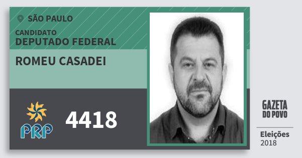 Santinho Romeu Casadei 4418 (PRP) Deputado Federal | São Paulo | Eleições 2018