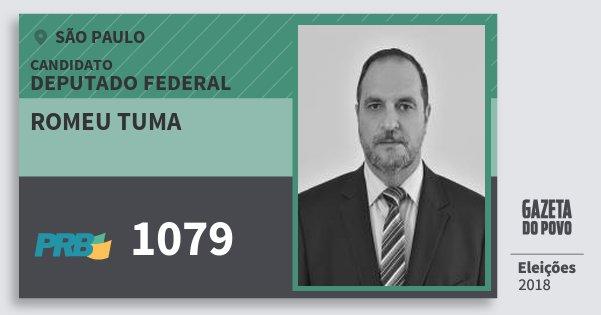 Santinho Romeu Tuma 1079 (PRB) Deputado Federal | São Paulo | Eleições 2018