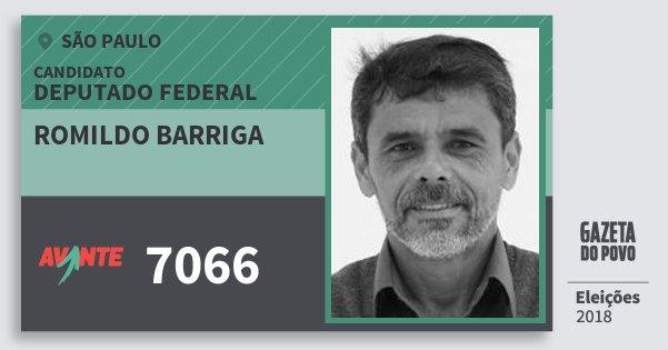Santinho Romildo Barriga 7066 (AVANTE) Deputado Federal | São Paulo | Eleições 2018