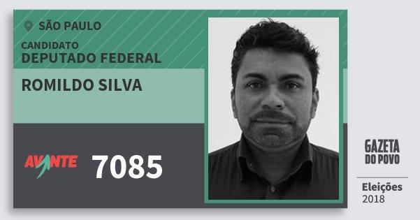 Santinho Romildo Silva 7085 (AVANTE) Deputado Federal | São Paulo | Eleições 2018