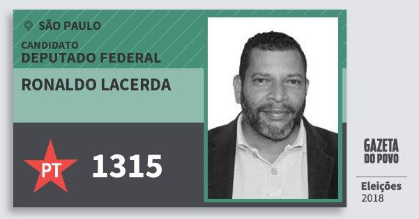 Santinho Ronaldo Lacerda 1315 (PT) Deputado Federal | São Paulo | Eleições 2018