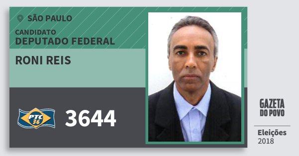 Santinho Roni Reis 3644 (PTC) Deputado Federal   São Paulo   Eleições 2018