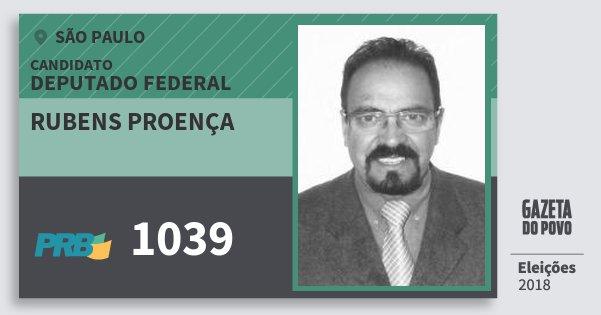 Santinho Rubens Proença 1039 (PRB) Deputado Federal | São Paulo | Eleições 2018