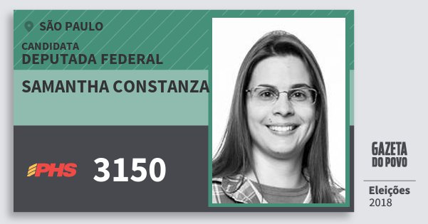 Santinho Samantha Constanza 3150 (PHS) Deputada Federal   São Paulo   Eleições 2018