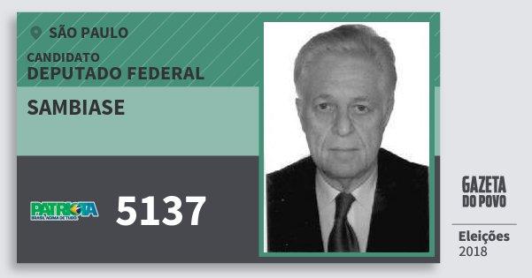 Santinho Sambiase 5137 (PATRI) Deputado Federal | São Paulo | Eleições 2018