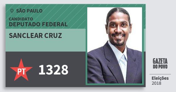 Santinho Sanclear Cruz 1328 (PT) Deputado Federal   São Paulo   Eleições 2018