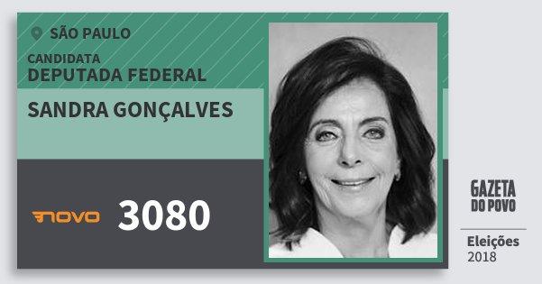 Santinho Sandra Gonçalves 3080 (NOVO) Deputada Federal   São Paulo   Eleições 2018