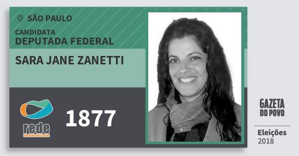 Santinho Sara Jane Zanetti 1877 (REDE) Deputada Federal | São Paulo | Eleições 2018