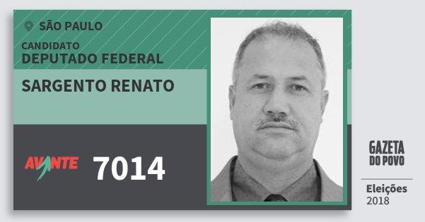 Santinho Sargento Renato 7014 (AVANTE) Deputado Federal | São Paulo | Eleições 2018