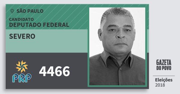 Santinho Severo 4466 (PRP) Deputado Federal | São Paulo | Eleições 2018