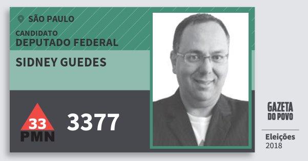 Santinho Sidney Guedes 3377 (PMN) Deputado Federal   São Paulo   Eleições 2018