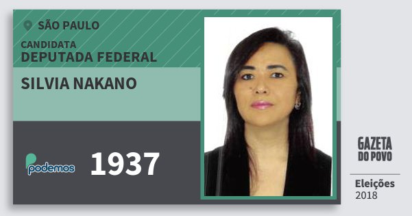 Santinho Silvia Nakano 1937 (PODE) Deputada Federal | São Paulo | Eleições 2018