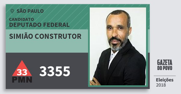Santinho Simião Construtor 3355 (PMN) Deputado Federal | São Paulo | Eleições 2018