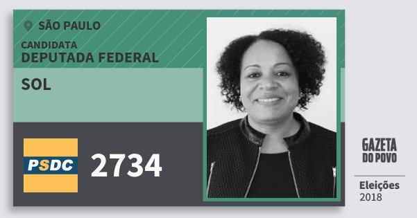 Santinho Sol 2734 (DC) Deputada Federal | São Paulo | Eleições 2018