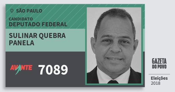 Santinho Sulinar Quebra Panela 7089 (AVANTE) Deputado Federal   São Paulo   Eleições 2018