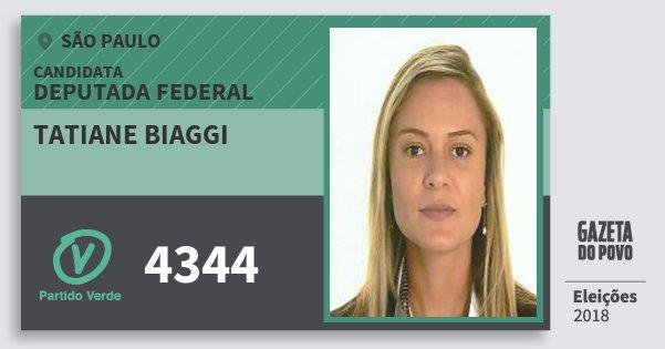 Santinho Tatiane Biaggi 4344 (PV) Deputada Federal | São Paulo | Eleições 2018