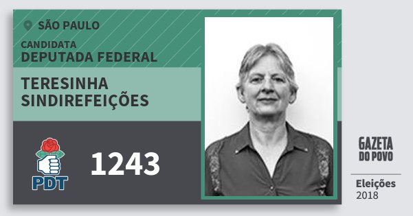 Santinho Teresinha Sindirefeições 1243 (PDT) Deputada Federal   São Paulo   Eleições 2018