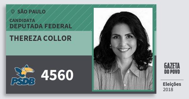 Santinho Thereza Collor 4560 (PSDB) Deputada Federal | São Paulo | Eleições 2018
