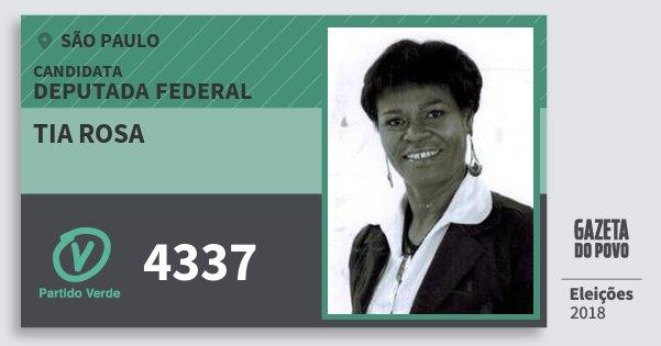 Santinho Tia Rosa 4337 (PV) Deputada Federal | São Paulo | Eleições 2018