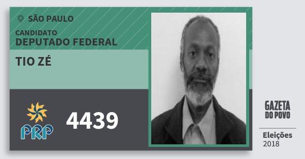 Santinho Tio Zé 4439 (PRP) Deputado Federal | São Paulo | Eleições 2018
