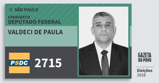 Santinho Valdeci de Paula 2715 (DC) Deputado Federal | São Paulo | Eleições 2018