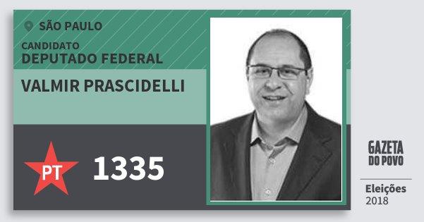 Santinho Valmir Prascidelli 1335 (PT) Deputado Federal | São Paulo | Eleições 2018