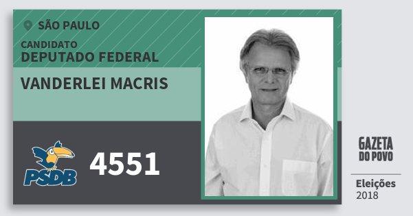 Santinho Vanderlei Macris 4551 (PSDB) Deputado Federal | São Paulo | Eleições 2018