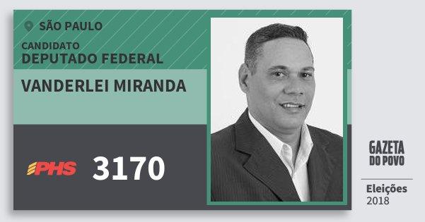 Santinho Vanderlei Miranda 3170 (PHS) Deputado Federal | São Paulo | Eleições 2018