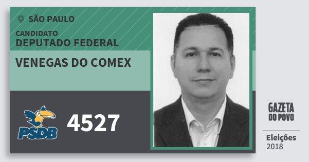 Santinho Venegas do Comex 4527 (PSDB) Deputado Federal | São Paulo | Eleições 2018