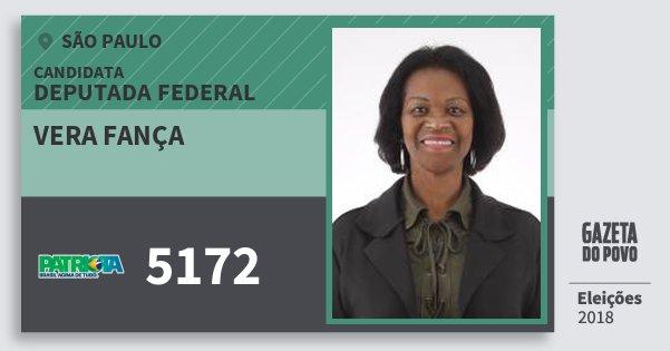 Santinho Vera Fança 5172 (PATRI) Deputada Federal   São Paulo   Eleições 2018