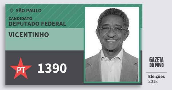 Santinho Vicentinho 1390 (PT) Deputado Federal | São Paulo | Eleições 2018