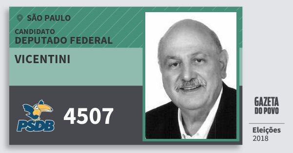 Santinho Vicentini 4507 (PSDB) Deputado Federal   São Paulo   Eleições 2018