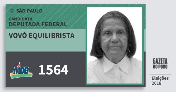 Santinho Vovó Equilibrista 1564 (MDB) Deputada Federal   São Paulo   Eleições 2018
