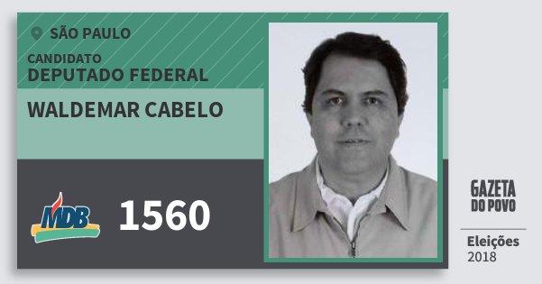 Santinho Waldemar Cabelo 1560 (MDB) Deputado Federal   São Paulo   Eleições 2018