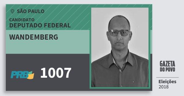 Santinho Wandemberg 1007 (PRB) Deputado Federal | São Paulo | Eleições 2018