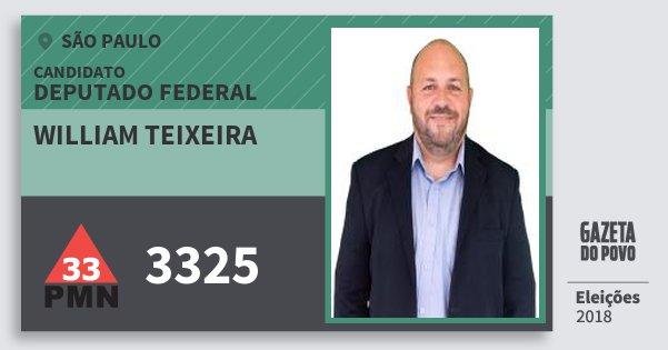 Santinho William Teixeira 3325 (PMN) Deputado Federal   São Paulo   Eleições 2018