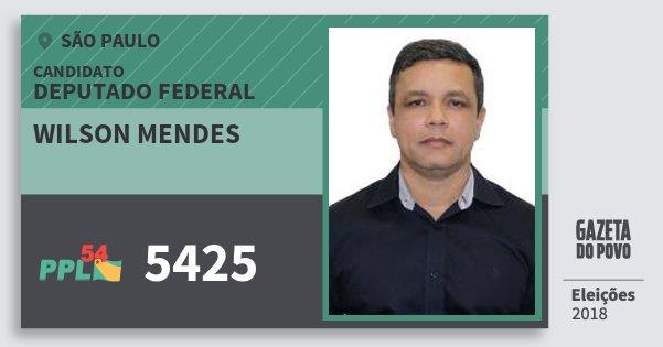 Santinho Wilson Mendes 5425 (PPL) Deputado Federal   São Paulo   Eleições 2018