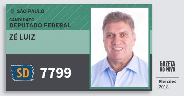 Santinho Zé Luiz 7799 (SOLIDARIEDADE) Deputado Federal | São Paulo | Eleições 2018