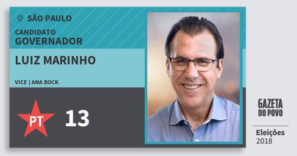Santinho Luiz Marinho 13 (PT) Governador | São Paulo | Eleições 2018