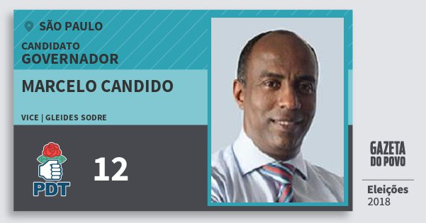 Santinho Marcelo Candido 12 (PDT) Governador | São Paulo | Eleições 2018