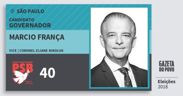 Santinho Marcio França 40 (PSB) Governador | São Paulo | Eleições 2018