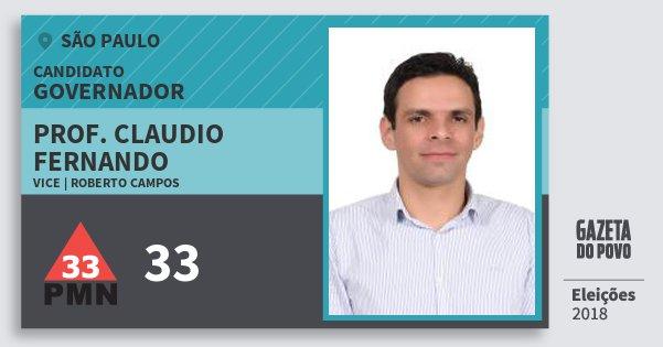 Santinho Prof. Claudio Fernando 33 (PMN) Governador | São Paulo | Eleições 2018